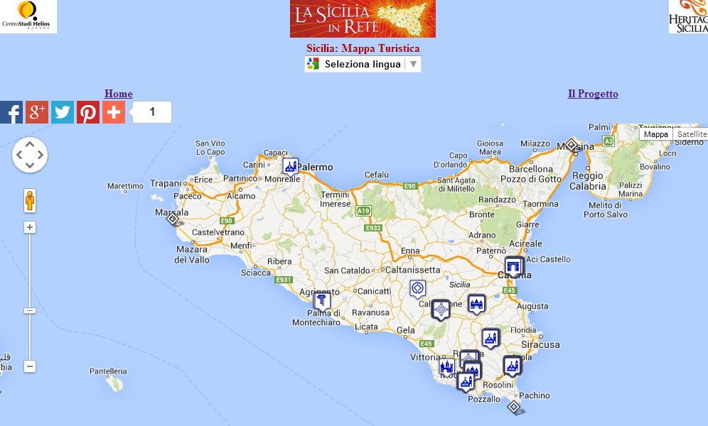 Cartina Sicilia Turistica.Mappa Turistica Della Sicilia Interattiva Heritage Sicilia